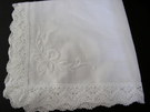 Beautiful White Linen & Lace Handkerchiefs perfect for Weddings - Image 1