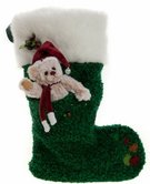 Green Charlie Bear Christmas Stocking - Image 1