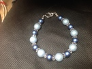 Blue beads and crystal bracelet - Image 1