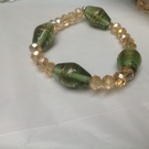 Crystal and Large Glass Beads  Elasticated bracelet - Image 1