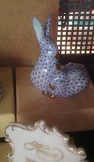 Herend Double Rabbits Blue Fishnet - Image 1