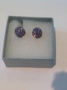 Lilac Crystal Earrings Set in Sterling Silver - Image 1