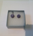 Purple Crystal Earrings set in silver - Image 1