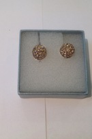 Gold crystal earrings set in sterling silver - Image 1