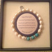 Freshwater pearls and turquoise elasticated bracelet