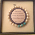 Freshwater pearls and turquoise elasticated bracelet - Image 1