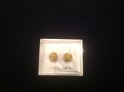 Gold Shamballa Earrings 925 Sterling Silver