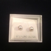 White Pearl Freshwater Pearl Earrings 925 Sterling Silver