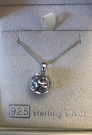 925 Sterling Silver ball with hearts necklace - Image 1