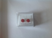 Shamballa Red Earrings Set in Silver