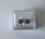 Navy Blue Shamballa Silver Earrings
