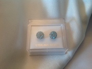 Shamballa turquoise beads earrings set in sterling silver
