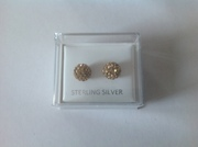 Gold Shamballa bead earrings set in sterling silver