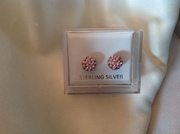 Pink Shamballa bead earrings 925 sterling silver