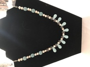 Turquoise, freshwater pearls and crystal Necklace