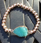 Rose Gold Plated with torquoise resin stone - Image 1